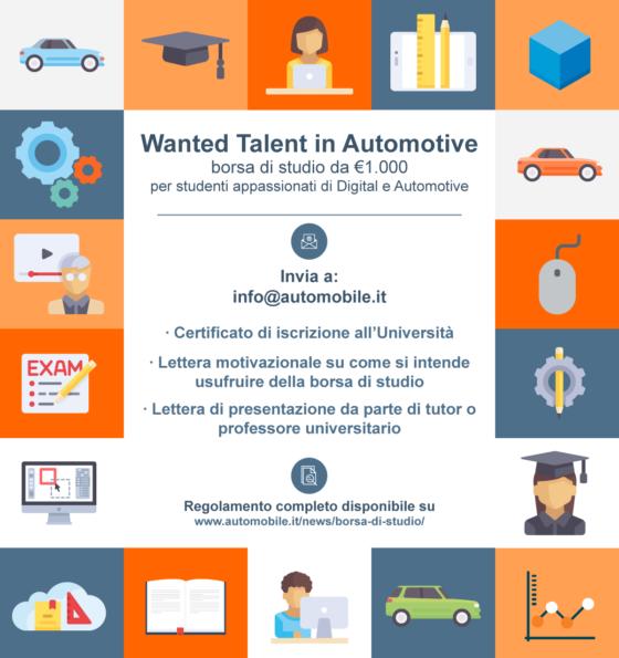 Wanted Talent in Automotive, la borsa di studio dedicata agli appassionati di automobili e innovazione